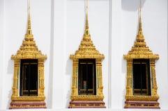 3 kungliga patheismfönster i den Roayl slotten, Thailand Royaltyfria Foton