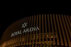 Kungligt arenatecken på natten Det är mång--bruk en inomhus arena i snut royaltyfri bild