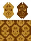 Kungligt baconemblem Svin i krona Logo för att bruka och köttpikstav Royaltyfri Bild