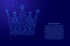 Kungligt imperialistiskt symbolsschema för krona från futuristiska polygonal blålinjen och glödande stjärnor för banret, affisch, stock illustrationer