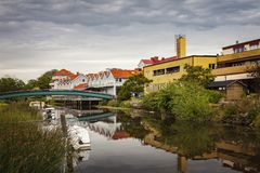 Kungsbacka riverfront scene. Image of the riverfront in Kungsbacka, outside of Gothenburg Sweden Royalty Free Stock Photos