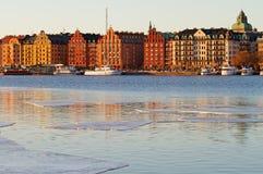 Kungsholmen em Éstocolmo, imagem do inverno imagens de stock