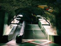Kungstradgarden-tunnelbanestation Untertage Blaue Linie, Hauptbahnhof der U-Bahn Stockholm, Schweden Stockfotografie