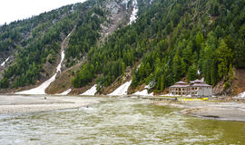Kunhar river in Naran Kaghan valley, Pakistan. The river originates from Lulusar Lake, nearly 48 kilometres upstream from Naran Valley. Waters of Dudipat and stock images