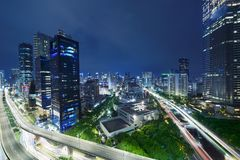 Kuningan CBD in Jakarta an der Nachtszene Lizenzfreies Stockbild