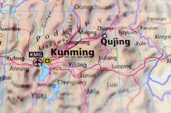 Kunming на карте Стоковые Изображения RF