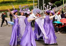 Kunming, China: Dancers in Exhibition Park Royalty Free Stock Photography