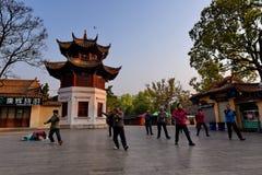 KUNMING, CHINA, EL 8 DE FEBRERO DE 2017: la gente exerciseing en el parque del lago green de Kunming, Kunming fotografía de archivo libre de regalías