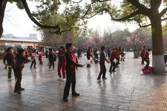 KUNMING, CINA, L'8 FEBBRAIO 2017: la gente exerciseing nel parco del lago green di Kunming, Kunming immagini stock