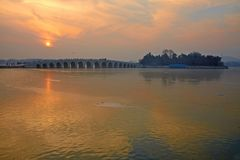 The Kunming lake and the 17arch bridge Royalty Free Stock Photography