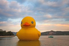 the Kunming lake and the big yellow duck stock images