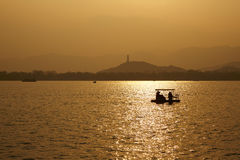 Kunming lake sunset. In Summer Palace,Spring season Royalty Free Stock Photo