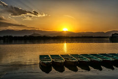 Kunming Lake. The kunming lake under the sunset in Summer Palace of Beijing, China Royalty Free Stock Images