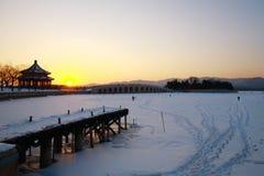 Kunming lake winter. Ferry boat terminus  and kunming lake winter Stock Photos