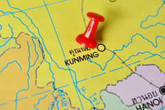 Kunming map. Macro shot of kunming map with push pin Royalty Free Stock Photo