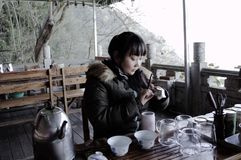 Young chinese girl is making a chinese tea royalty free stock images