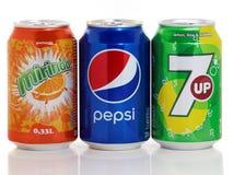 Kunna av Pepsi, Mirinda och 7up arkivfoto