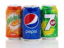Kunna av Pepsi, Mirinda och 7up royaltyfria foton