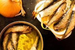 Kunna av sardiner eller små stackare arkivfoton