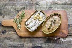Kunna av sardiner och tonfisk arkivbild