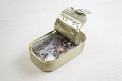 Kunna av sardines i olja Royaltyfria Foton