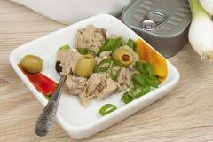 Kunna av tonfisk, ett sunt mål med grönsaker Arkivfoto