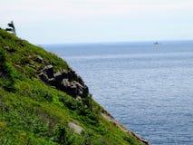 Kunna längs atlantiskt, bakgrund, fjärden, härlig, blå blå himmel arkivfoton