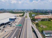 26 kunnen 2018, Bangkok:: luchtmening van snelweg in Bangkok Royalty-vrije Stock Afbeelding