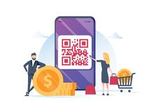 Kunnen het vector de illustratieconcept van de QR-codebetaling, smartphone van het mensengebruik en de aftasten qr code voor beta royalty-vrije stock fotografie