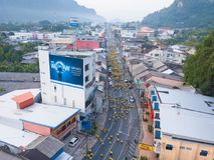 26 kunnen 2018, phang-Nga:: liefdadigheid in phang-Ngastad die in werking wordt gesteld Royalty-vrije Stock Foto