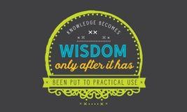 Kunskap blir vishet, efter endast den har satts till praktiskt bruk stock illustrationer
