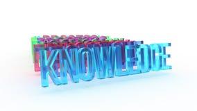 Kunskap 3D ord, färgrika begreppsmässiga animeringar, tappar uppifrån royaltyfri illustrationer