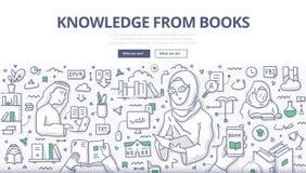 Kunskap från bokklotterbegrepp stock illustrationer