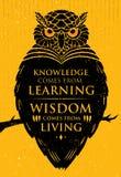 Kunskap kommer från att lära Vishet kommer från uppehälle Inspirerande idérikt motivationcitationstecken Owl Vector Banner stock illustrationer