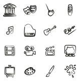 Kunst & Art Equipment Icons Freehand royalty-vrije illustratie