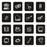 Kunst & Art Equipment Icons Freehand White op Zwarte royalty-vrije illustratie