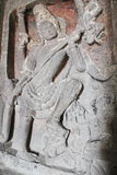 Kunst auf den Wänden alter Stein geschnitzten Kailasa-Tempels, höhlen keine 16, Ellora aushöhlt, Indien aus Lizenzfreies Stockfoto