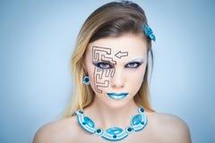 Kunst bilden schwarzes Labyrinthpuzzlespiel Lizenzfreies Stockfoto