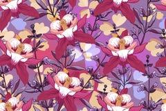 Kunst bloemen vector naadloos patroon vector illustratie