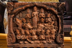 Kunst in de tempelmuur Royalty-vrije Stock Foto's