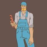 Kunst des kühlen Mannklempners Hippie-Arbeitskraftvektorillustration Stockfotos