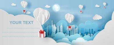 Kunst des Papiers 3D und Handwerksart Ballon weißen Schwimmens und der Geschenkbox an im blauen Himmel der Luft Ihr Textraum-Hint lizenzfreie abbildung