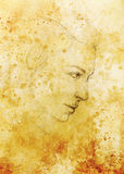 Kunst die mooie meisjesgezicht en sepia achtergrond trekken stock illustratie