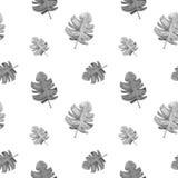 Kunst, die Schwarzweiss-Blätter des nahtlosen Aquarells malt stock abbildung