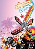 Kunst-Disco-Tanz-Hintergrund mit DJ-Schattenbild Stockbilder