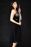 Kunst Frauenflötistflötist mit Flöte Musik Stockbilder