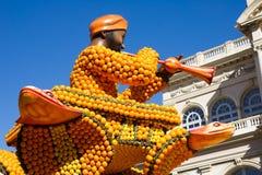 Kunst gemacht von den Zitronen und von den Orangen in der berühmten Zitrone Festival Fete du Citron in Menton, Frankreich Lizenzfreies Stockbild