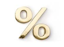 Kunst-Goldsymbol von Zinsen auf einen weißen Hintergrund Stockbilder