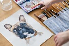 Kunst het schilderen beeldhond die Franse buldog trekken royalty-vrije stock fotografie