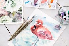 Kunst het schilderen de flamingo van de beeldtekening royalty-vrije stock foto